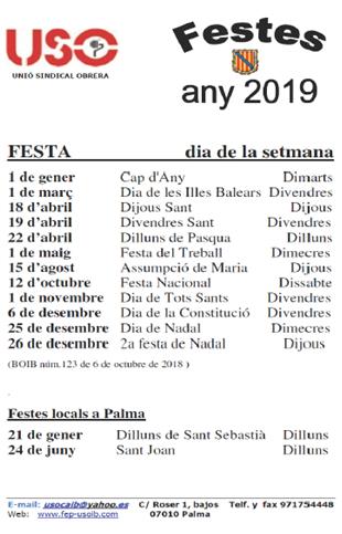 Calendario Laboral 2020 Palma De Mallorca.Seccion Sindical Uso Caib Pagina Web Dedicada A Los Empleados